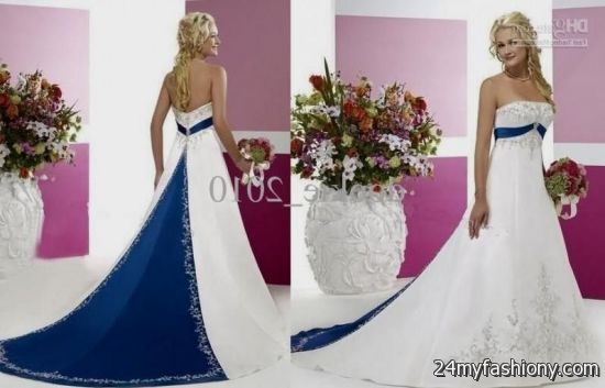 White And Royal Blue Wedding Dresses 2017-2018