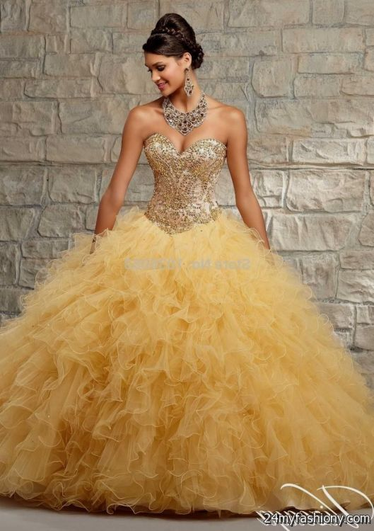 sweet 15 dresses gold and pink 2016-2017 » B2B Fashion