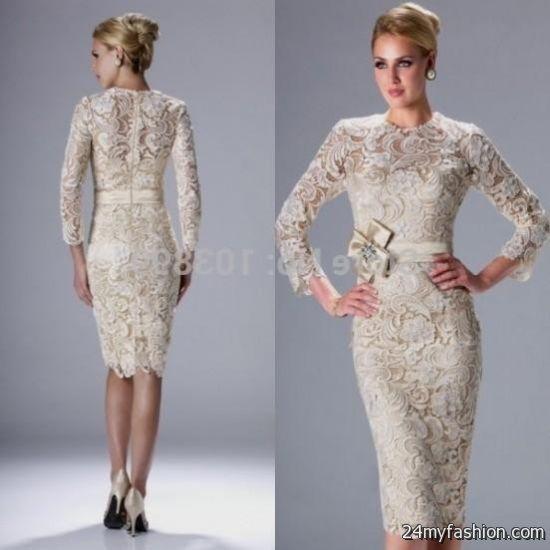 beige lace dress 3/4 sleeve 2016-2017 » B2B Fashion
