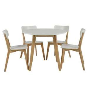 Eethoek Aalborg (tafel met 4 stoelen) - wit/eiken - Leen Bakker