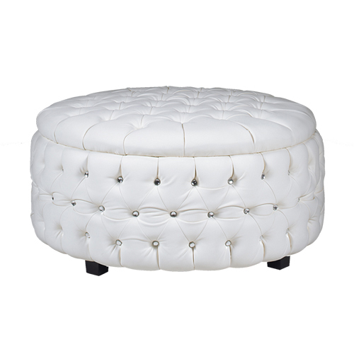crystal button white leather round