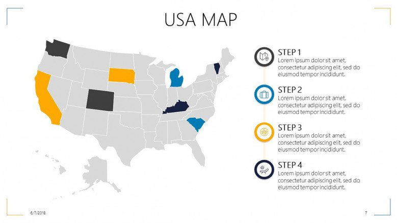 A map legend is a side table or box on a map that shows the meaning of the symbols, shapes, and colors used on the map. Usa Map Free Powerpoint Template