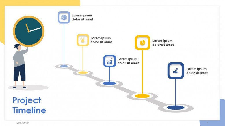One of the key elements of any project management is the project timeline. Project Timeline Free Powerpoint Template