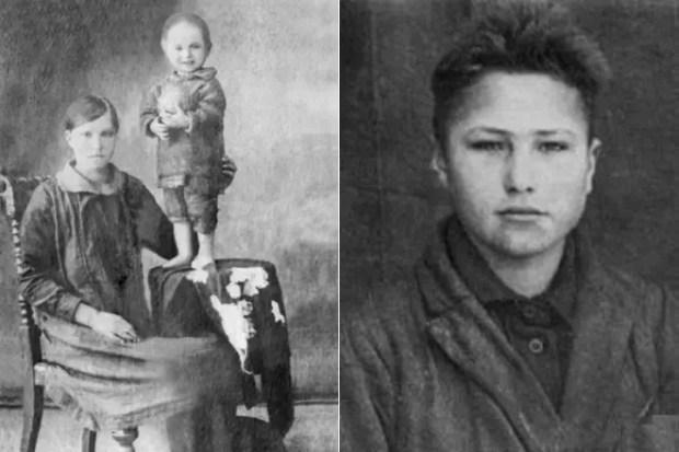 Маленький Василий Шукшин с мамой (слева) и в юности