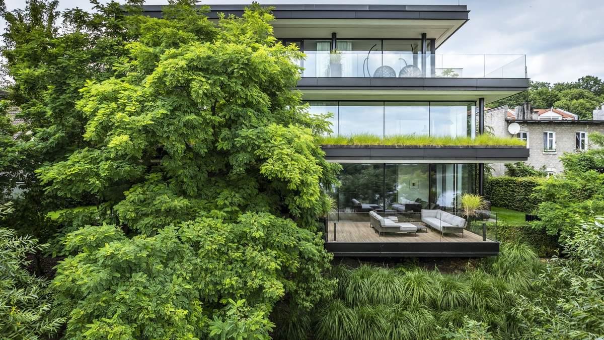Утоплен в зелень: экологический дом в Торуне с деревьями ...