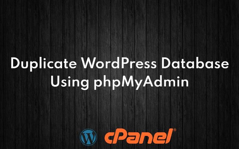 duplicate database with phpMyAdmin