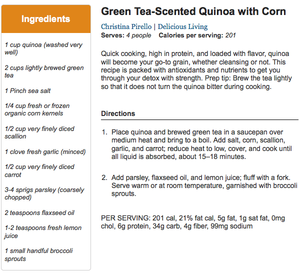 Green Tea Scented Quinoa with Corn