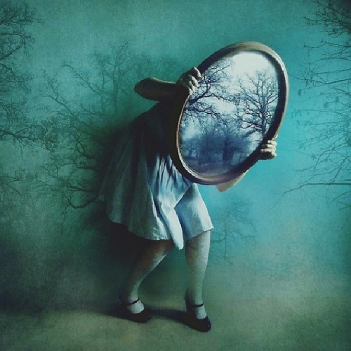 We hide behind our many faces.<br /> Who are we going to be today?<br /> Look in the mirror.<br /> Only then do we see our true selves.