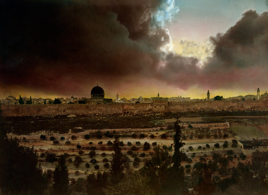 A hand-tinted photograph of Jerusalem, March 1914.Photograph by American Colony Photographers