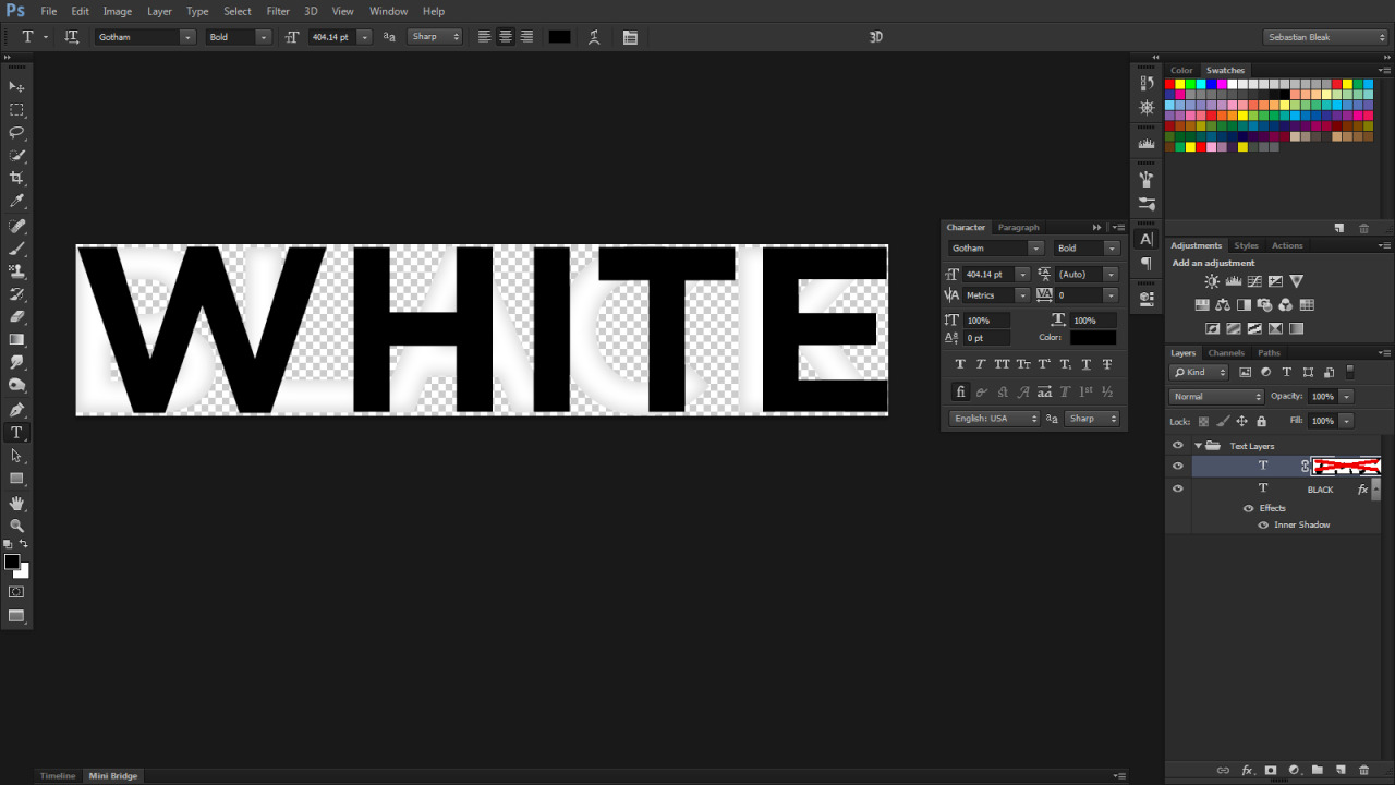 Black and White Text layout