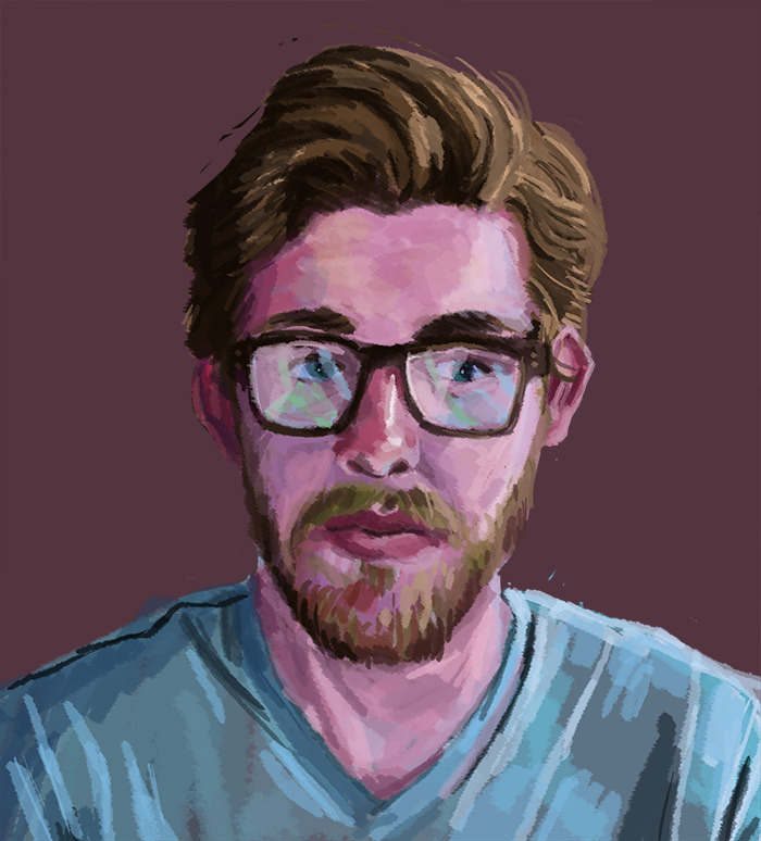 I got kind of burnt out today trying to learn Illustrator, so I retreated to the safest place there is: Photoshop self-portraiture. There there, little ego…