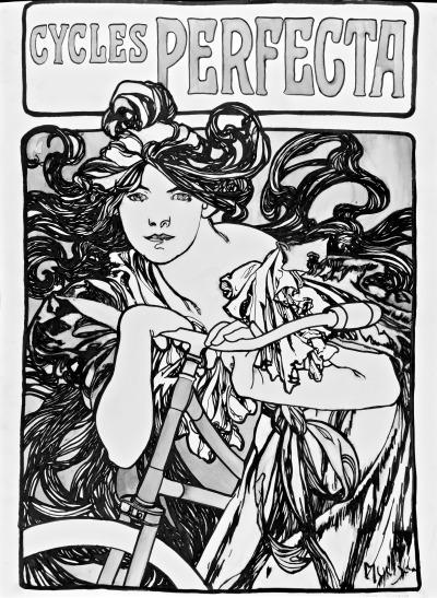 Copie de l'affiche Cycles Perfecta de Mucha