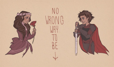 No wrong way to be: princess-style girl on the left, warrior-style girl on the right