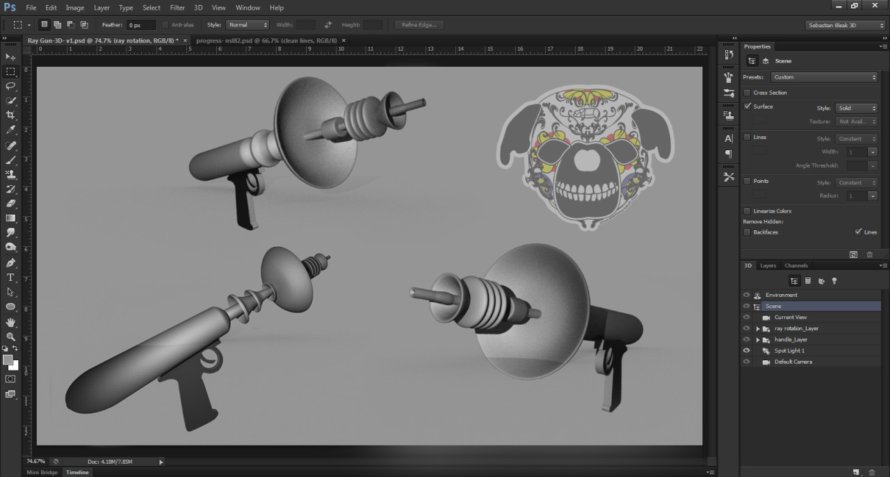 Ray guns for Outer Space scene