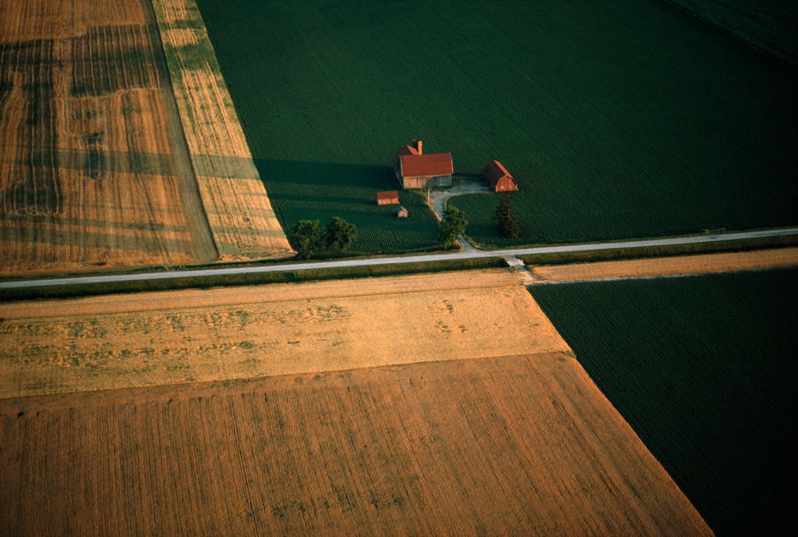 An aerial photograph of farmland in Michigan, June 1979.Photograph by James L. Amos, National Geographic