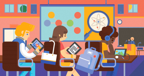 Back to school illustration for Google Play