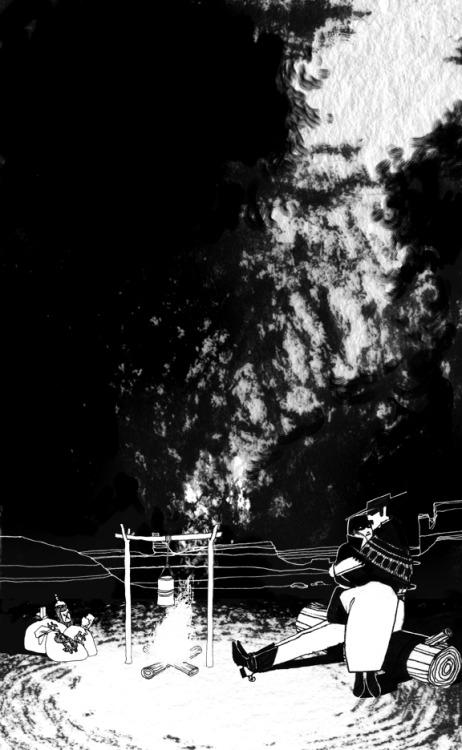 serena malyon illustration spaghetti western old west train robbers