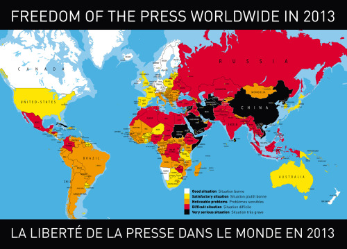 Reporters Without Borders releases the Press Freedom Index 2013 report.