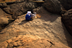 8000 anos de idade, escultura rocha girafa em DaBous, Níger é considerado um dos melhores pinturas rupestres do mundo.