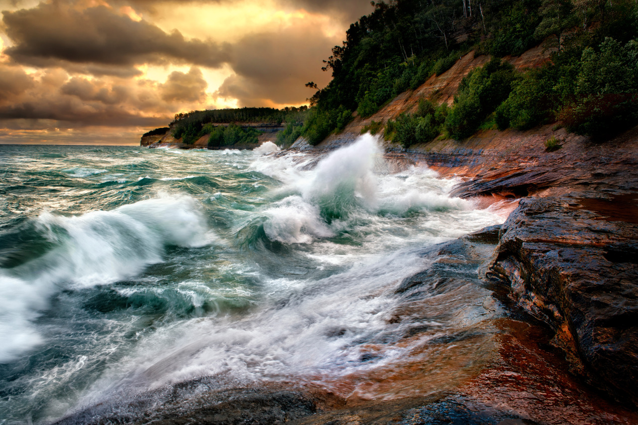 Superior Fury - Lake Superior near Miner's Beach in Pictured Rocks National Lakeshore during a gale at sunrise.  Photo: Steve Perry