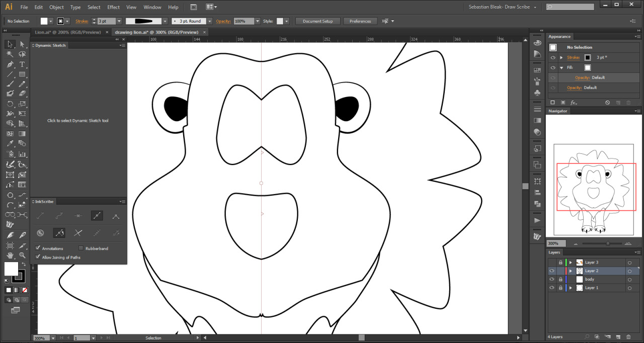 Adobe Illustrator CS6 drawing a Lion