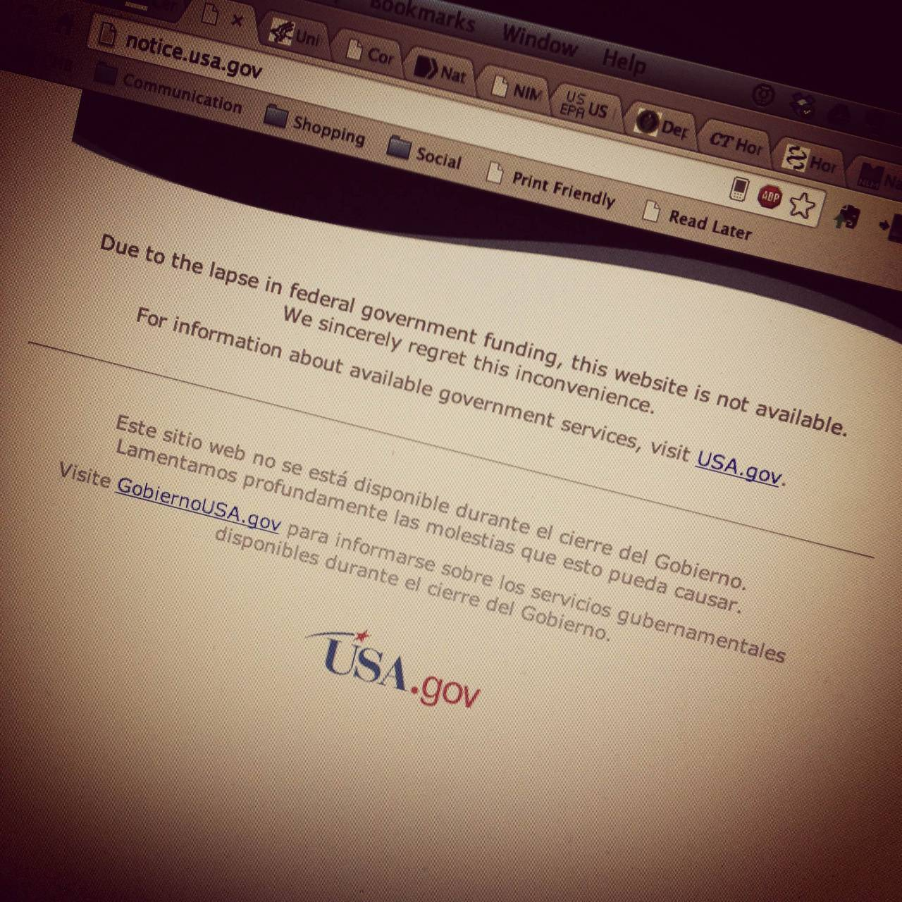 NASA home page government shutdown