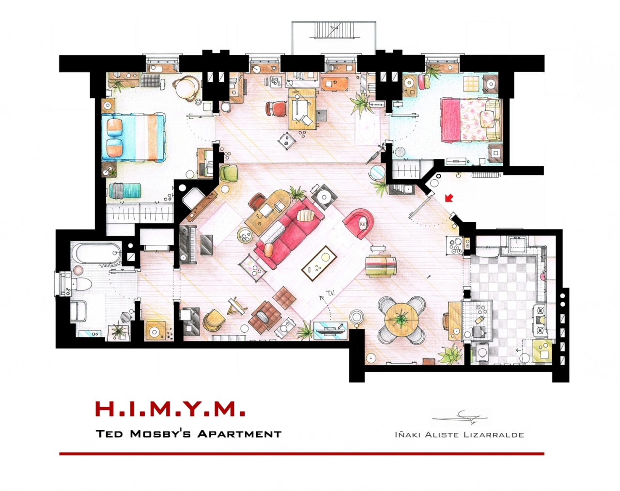 "The apartment of Ted mosby from the show ""How I met your mother""I have extended the walls with the doors to the bedrooms to fit these in the plan. Some sets have changed throughout the different seasons and this floorplan is a mixture of various of them.This is a hand drawed plan, in scale, coloured with colour pencils and with full details of furniture, fabric, timbers and complements… The design is made according with the ""real"" apartment respecting the spaces, proportions, furniture and objets presents in the studio set..If you want to buy an original drawing, especially handmade for you, contact me at ializar@hotmail.com or visit my ETSY store.."