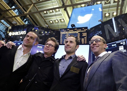 Twitter founders (from left) Jack Dorsey, Biz Stone, Evan Williams with CEO Dick Costolo