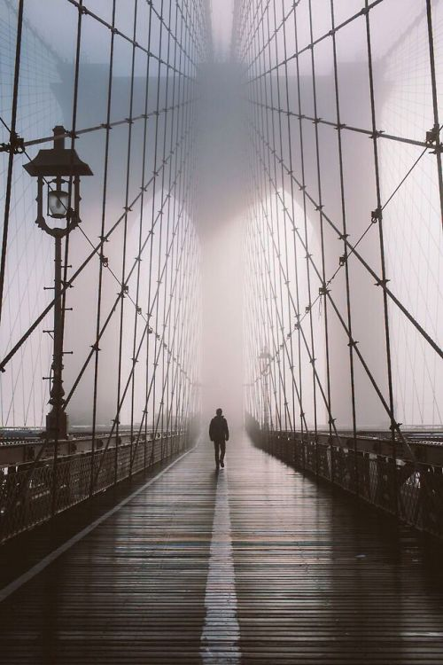 garakami:</p> <p>Brooklyn Bridge by Gabriel Flores</p> <p>We walk alone.<br /> At times we ask for help.<br /> But no one can understand our grief.<br /> No one can carry our problems for us.<br /> We must learn to stand on our own feet.<br /> No one can do this for us.<br /> It is a lonely journey,<br /> but we must do it by ourselves.