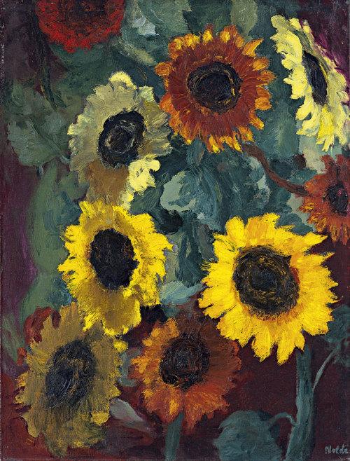 peira:  Emil Nolde: Glowing Sunflowers (1936) via Museo Thyssen-Bornemisza