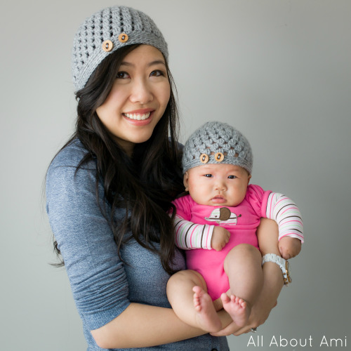 Matching crocheted mommy & baby hats