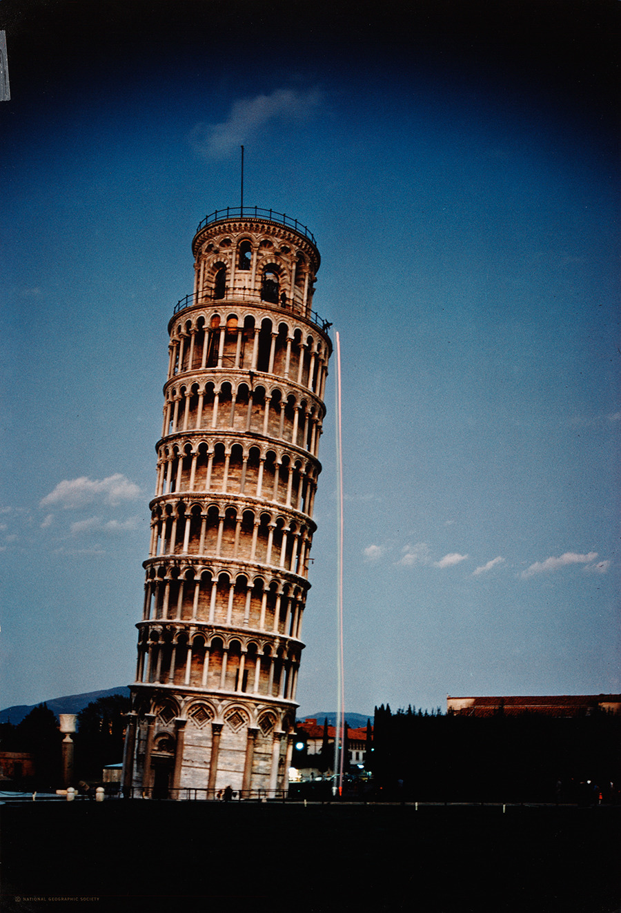 Two balls dropped from the tower in Pisa replay Galileo's experiment, November 1974.Photograph by Luis Marden, National Geographic