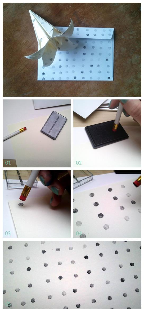 Pois sur du papier avec un crayon