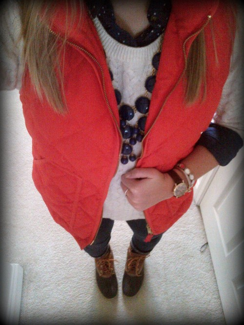 sidneyerin:</p><br /> <p>OOTD: To Grandmother's House We Go<br /><br /> Shirt/Sweater/Jeans: H&MVest: J. CrewBoots: L.L. Bean Necklace: Etsy<br /><br />