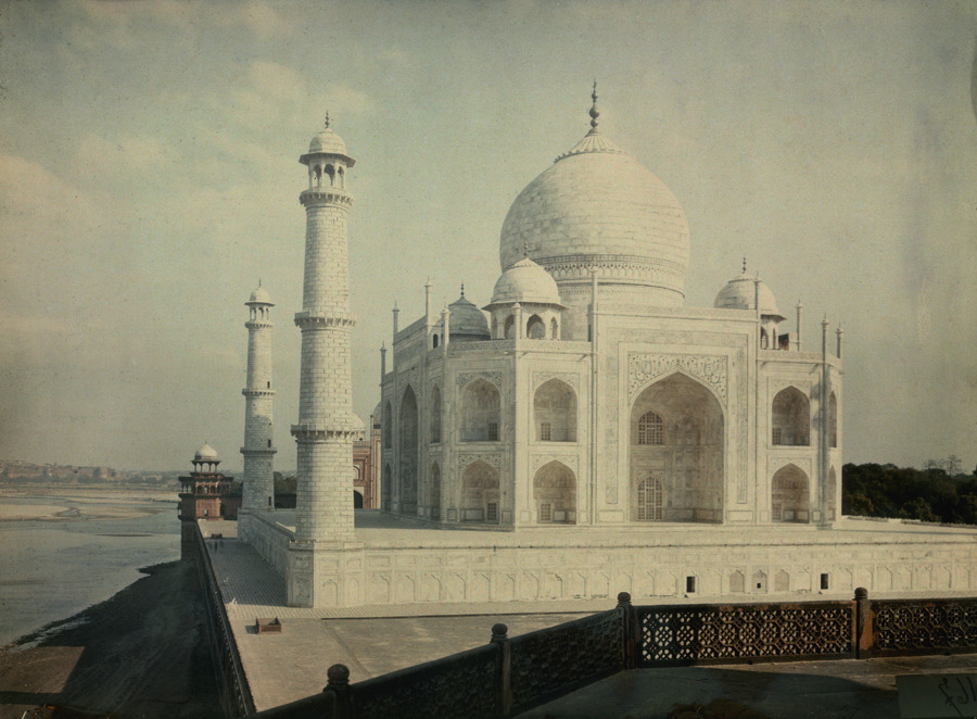 A view of the Taj Mahal on the Jumna River, 1923. Photograph by Jules Gervais Courtellemont, National Geographic