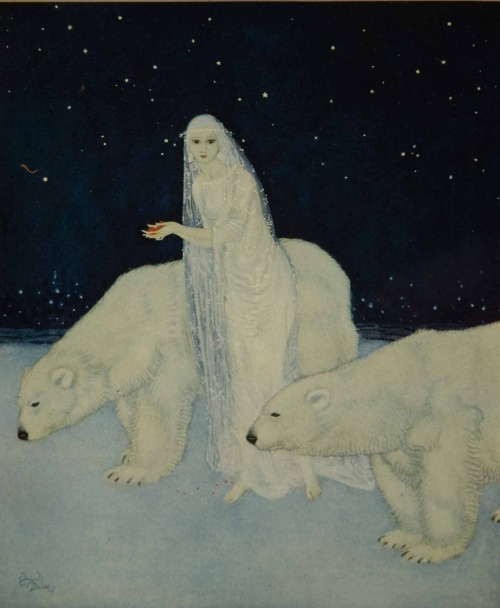 "zuppadivetro:  madame0:  ""Everything about her was white, glistening and shining…"" - The Dreamer of Dreams by the Queen of Roumania Edmund Dulac - (1915)"