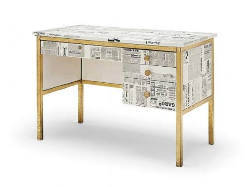 Newsprint desk by Piero Fornasetti (1955). Brass and decoupage.