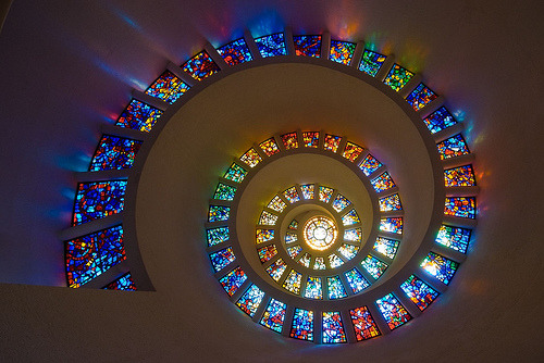 stained glass ceiling of Thanksgiving Chapel, Dallas