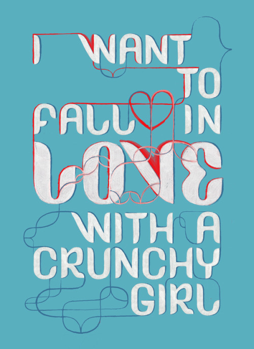 fall in love with crunchy girl typography, quote