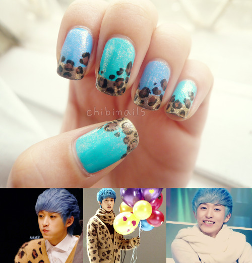 chibinails:</p> <p>Based off from Dalmatian's Youngwon. I really love his unique blue hair :')The Face Shop - Face it BL604Holika Holika - 26 써머 마린 (Summer Marine)Etude House - 3 밀키웨이퍼플 (Milky Way Purple(?))Etude House - BR301 초코 슬러시 (Choco Slushie)Sally Hansen - 28 Black OutEleanor - #694 (Gold Shimmer)<br />