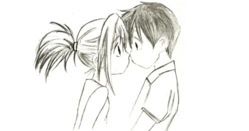 Girl Hugging Boy Drawing Tumblr