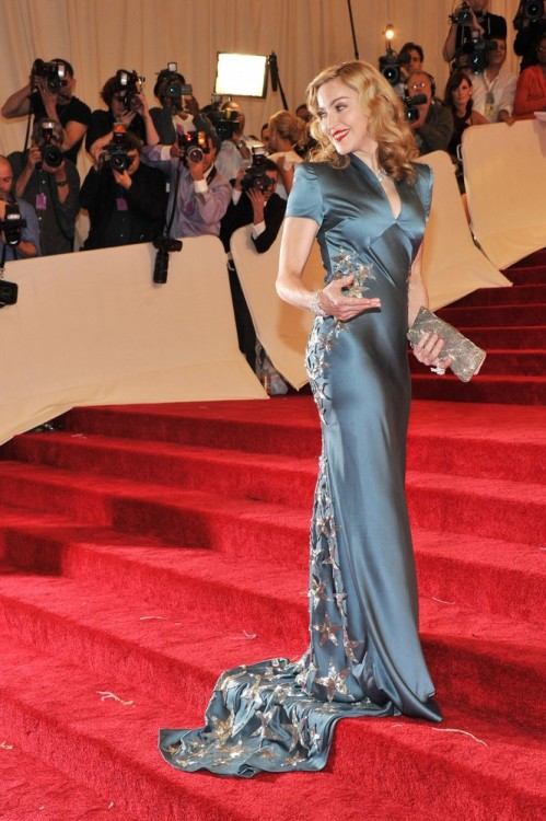 suicideblonde:  Madonna wearing a Stella McCartney dress at the Met Costume Gala tonight Madonna looking so retro beautiful.
