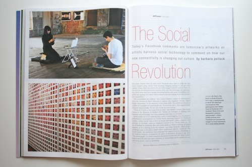 """hyperallergic:  Social Media Art's Social Revolution This month'sARTnewsmagazine includes an extensive feature by veteran arts writer Barbara Pollack on social media art. In her article, she features Hyperallergic's#TheSocialGraphexhibition and many of the artists in the show, including An Xiao, Jennifer Dalton, Benjamin Lotan of Social Printshop and Man Bartlett, whose """"#24hKith"""" (2010) was performed in our offices at the end of November.  This is a fascinating read for anyone interested in understanding the emergence of social media art and how artists are using the medium to create work."""