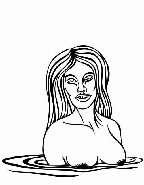 vector ink drawing naked lady for half naked thursday hnt by scarlet tentacle