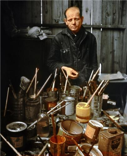 """Jackson Pollock, photo by Arnold Newman<br /><br /><br /><br /><br /><br /><br /><br /><br /><br /><br /><br /><br /><br /><br /><br /><br /><br /><br /><br /><br /><br /><br /><br /><br /><br /><br /><br /><br /><br /><br /><br /><br /><br /><br /><br /><br /><br /><br /><br /><br /><br /><br /><br /> """"Abstract painting is abstract. It confronts you.  There was a reviewer a while back who wrote that my pictures didn't have  any beginning or any end. He didn't mean it as a compliment, but it  was. """" Jackson Pollock"""