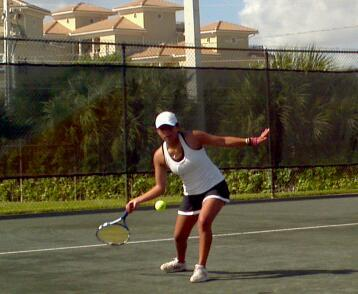 Vivian warming for morning workout. This awesome 15 year old is from Ecuador. Vivian's father signed her up as a member of International Christian Tennis Association when she was just 11… and now here she is training with us full time!
