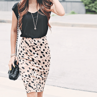 Polka dot pencil skirt.