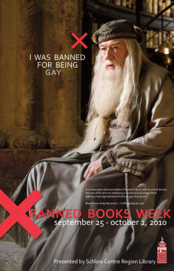 Harry Potter Series, Dumbledore, banned books, poster, censorship,