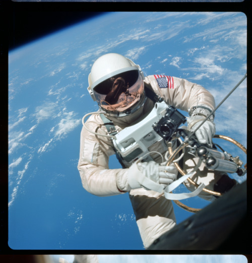 Look High Gemini Man Astronaut Ed White floats in space
