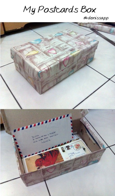 this is my postcards box. Do you want to swap postcard with me? just send me an email :)